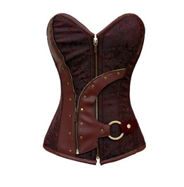 Steampunk Brocade Faux Leather Zip Corset Plus Sizes