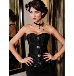 Black/Brown/Red/White Gothic/Steampunk Overbust Brocade Corsets Plus Sizes