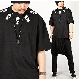 Special Price Cool White Skull Accent Loose Tee 48