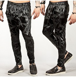 Striking Crack Pattern Accent Metallic Slim Baggy Sweatpants 23