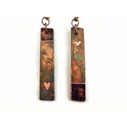 Asymmetric Heart Dangle Earrings Festival Jewelry Retro Distressed Boho