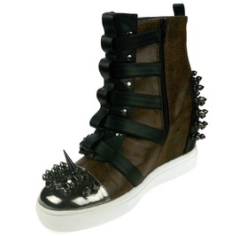 Hades Shoes Skylar Brown Studded Steampunk Sneakers