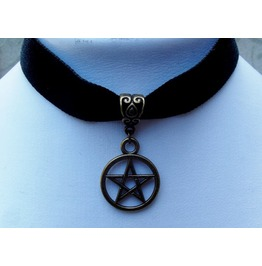 Gothic Pagan Witch Bronze Plated Pentacle Pendant Black Velvet Choker