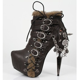 Hades Shoes Adler Dark Brown Stiletto Booties