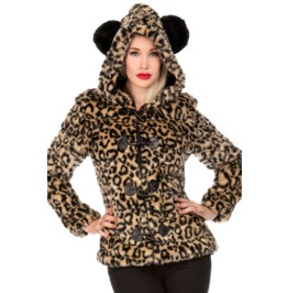 Jawbreaker Faux Leopard Furry Leopard Panda Ear Hooded Jacket