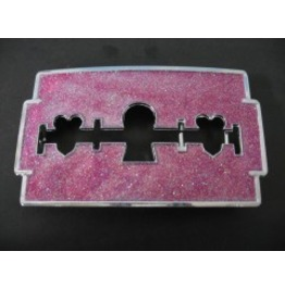 Pink Sparkly Razor Blade Belt Buckle