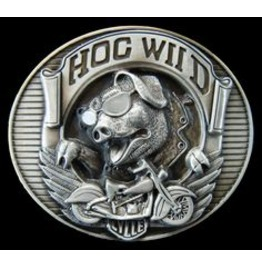 Hog Wild Belt Buckle Motorcycle Harley Biker Enthusiasts
