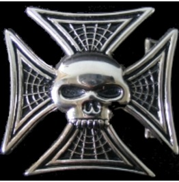 Iron Cross & Skull Head Spider Web Belt Buckle