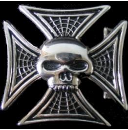 Iron Cross & Skull Head Spider Web Belt Buckle