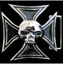 Iron Cross & Skull Belt Buckle