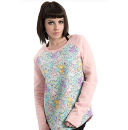 Jawbreaker Women's Stuffed Bunny Kawaii Raglan Fleece Pink Sweatshirt