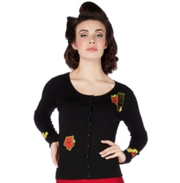 Voodoo Vixen Women's Emilia Tiki Head Rockabilly Cardigan