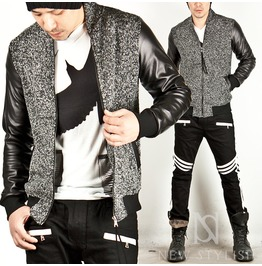 Leather Contrast Heather Black Banded Hem Jersey Jacket 130