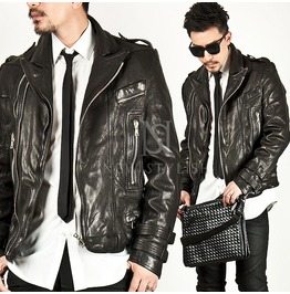 Lambskin Sharp Collar Rider Leather Jacket 46