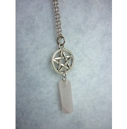Milky White Pendulum & Pentacle Necklace Misty Day Wicca Pentagram Stone