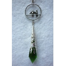 Keepers Souls Green Pendulum Long Necklace Elven Goth Pagan Wicca