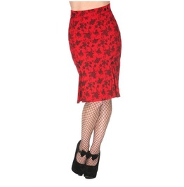 Voodoo Vixen Women's Red Floral Pencil Skirt