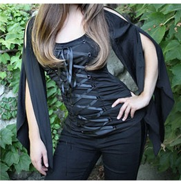 Stretch Lace Gothic Steampunk Corset Jersey Top 31520 Cs