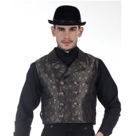Mens Gothic Steampunk Double Breasted Cavalier Vest Black