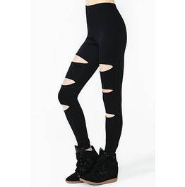 Punk Cutout Black Leggings