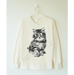 Glasses Cat Shirt Galaxy Shirt Meow Animal Shirt Women Sweater Men Sweater