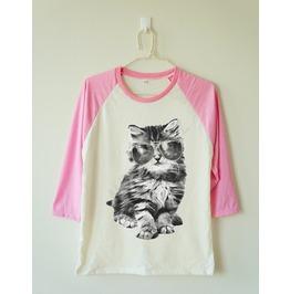 Glasses Cat Shirt Galaxy Shirt Meow Animal Baseball Long Women Men Shirt