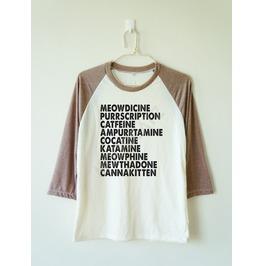 Meowdicine Tshirt Funny Cat Tshirt Meow Tee Baseball Long Women Men Shirt