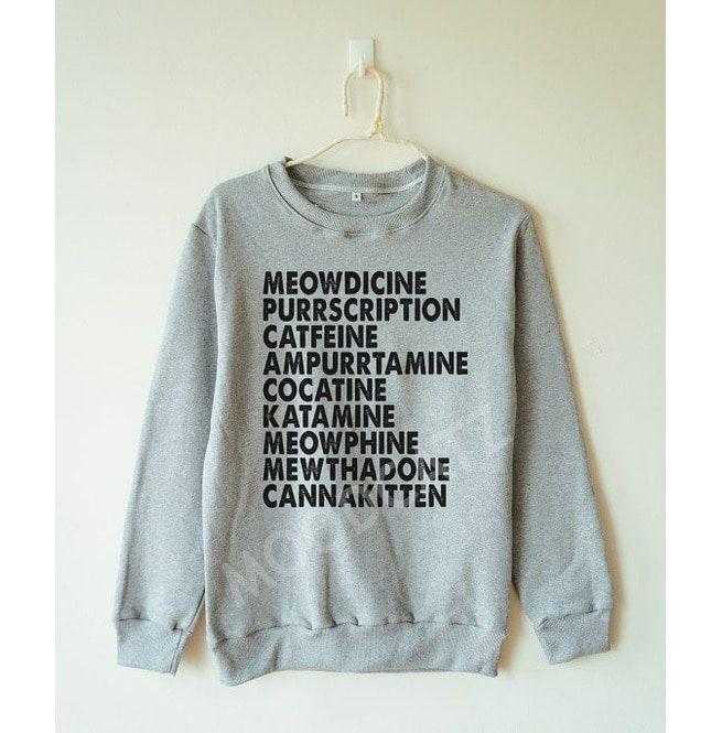 f604d6a2 Meowdicine Tshirt Funny Cat Tshirt Meow Tshirt Women Sweater Men Sweater