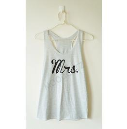 Mrs. Tshirt Mrs. Shirt Text Tshirt Women Racer Back Tank Top Women Shirt