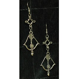 Bow Arrow Squiggle Spacer Dangle Earrings
