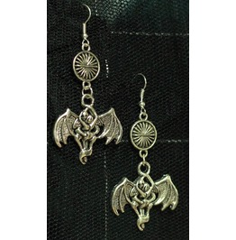 Beloved Bat Sun Spacer Dangly Gothic Earrings