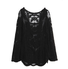 Pretty! Black Embroidered Lace Design Long Sleeved Top One Size