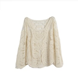 Pretty! Ivory Cream Embroidered Lace Design Long Sleeved Top One Size