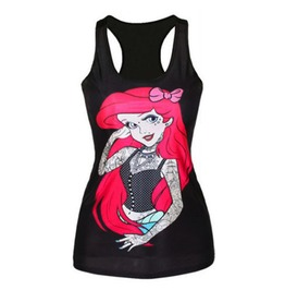 Eye Catching + Cool Disney's Ariel Tattoo + Piercing Vest Top One Size