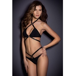 Sexy Black Criss Cross Bikini Swimsuit