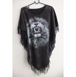 Lion Animal Wave Punk Hippie Batwing Tussle Fringes Stone Wash Poncho