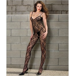 Plus Size Black Lace Stretch Crotchless Bodystocking