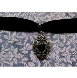 Gothic Steampunk Black Velvet Bronze Filigree Pendant Choker