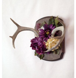 Vintage Antler Large Faux Flower Wall Mount, Wall Art