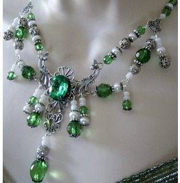 Absinthe Green Necklace, Goth Victorian Retro Fashion
