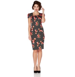 Voodoo Vixen Women's Beverly Floral Rockabilly T Dress
