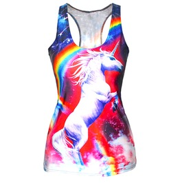 Eye Catching + Cool Rainbow Unicorn + Techno Dinosaur Vest T Shirt One Size