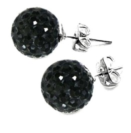 Stunning! Small Black Ball Diamante Earrings 925 Silver
