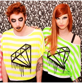 Diamond Batwings Fluo Neon Striped T Shirt