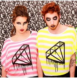 Diamanto Batwing Fluo Neon Striped T Shirt