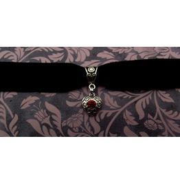 Gothic Steampunk Black Velvet Choker Silver Heart Pendant