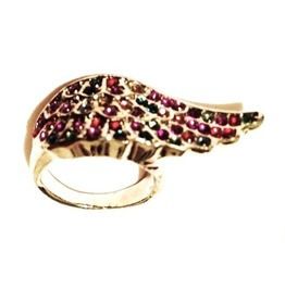 Beautiful! Colourful Crystals Angel Wing Ring Size 7.5
