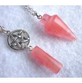 Double Pendulum Pentacle Wicca Necklace Quartz Multistrand Pentagram Stone