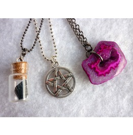White Witch Multi Strand Necklace Pentacle Purple Magenta Agate Wicca