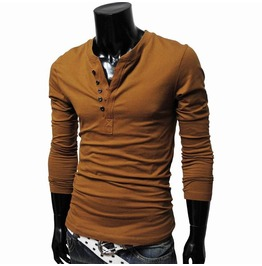 Henley Neck Long Sleeve T Shirt